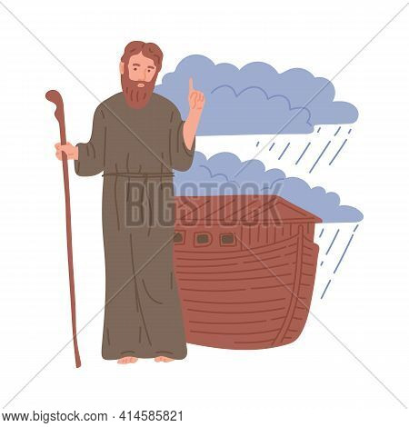 Old Testament Bible Story Of Noah And His Ark Flat Vector Illustration Isolated.