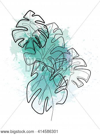 Composition From Monoline Leaves Of Monstera With Green Watercolor Splashes. Contour Tropical Foliag
