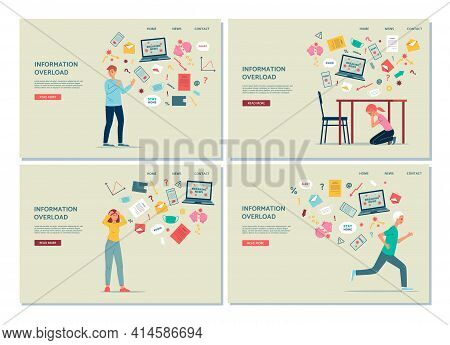 Information Overload Web Banners With Stressed People, Flat Vector Illustration.