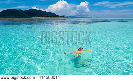 Kids Snorkel. Beach Fun. Children Snorkeling In Tropical Sea On Family Summer Vacation On Exotic Isl