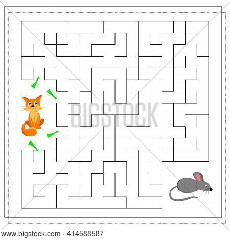 A Maze Game For Kids. Guide The Cat Through The Maze To The Mouse. Vector Isolated On A White Backgr