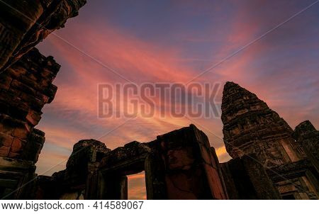 Phimai Historical Park With Blue And Golden Sunset Sky. Landmark Of Nakhon Ratchasima, Thailand. Tra