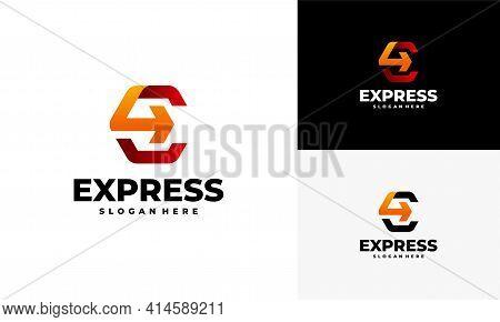 Fast Forward Express Logo Designs Vector, Modern E Initial Express Logo Template