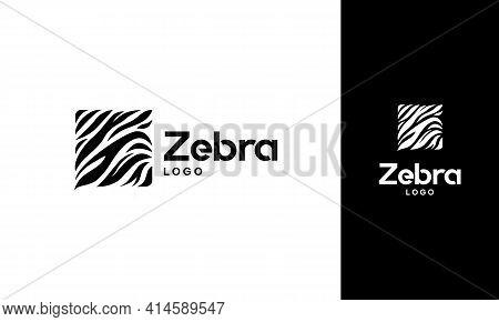 Iconic Zebra Logo Designs Concept Vector, Square Zebra Logo
