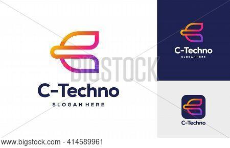 Modern C Tech Symbol Logo Concept, C Initial Tech Logo Vector