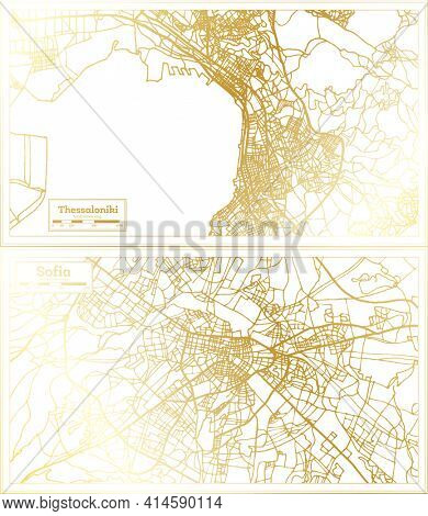 Sofia Bulgaria and Thessaloniki Greece City Map Set in Retro Style in Golden Color. Outline Map.