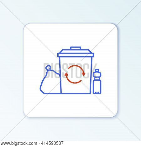 Line Recycle Bin With Recycle Symbol Icon Isolated On White Background. Trash Can Icon. Garbage Bin