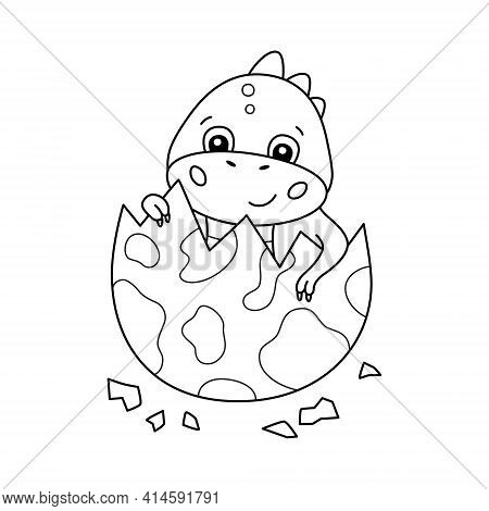 Cute Little Dinosaur Hatches From An Egg. Dino For Kid Coloring Book. Baby Tyrannosaurus. Children P