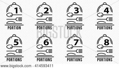 Concept For Product Packaging Or Menu. Labeling - No Number Of Servings Per Dish. Serving Utensils W
