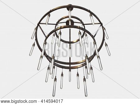 A Decorative Chandelier Made Out Of Tarnished Iron With Hanging Glass Lamps On An Isolated Backgroun