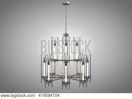 A Decorative Chandelier Made Out Of Tarnished Iron With Upright Glass Lamps On An Isolated Backgroun