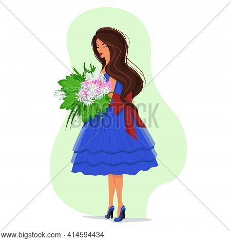Girl In A Pink Dress Holding A Lush Bouquet Of Daisies In Her Hands, Long Blond Hair Fluttering In T