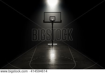 A Concept Showing Hoop On A Reflective Concrete Lined Basketball Court Backlit By A Single Honeycomb
