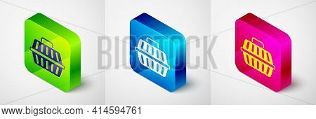 Isometric Pet Carry Case Icon Isolated On Grey Background. Carrier For Animals, Dog And Cat. Contain