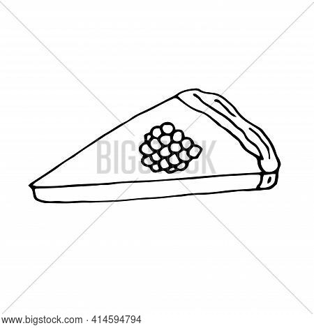 Raspberry Cheesecake Vector Doodle Illustration Hand Drawing