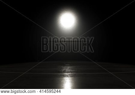 A Concept Showing Goals On A Reflective Concrete Lined Football Field Backlit By A Single Honeycomb
