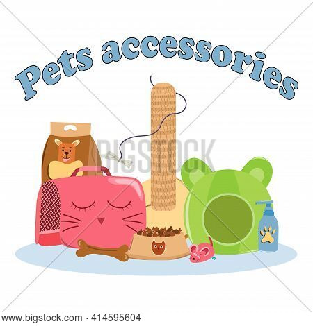 Pet care accessories set with inscription. Collection of pets elements. Various pet supplies. Flat isolated vector illustration on white background