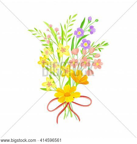 Blooming Flower Bunch Tied With Red Ribbon As Spring Vector Composition