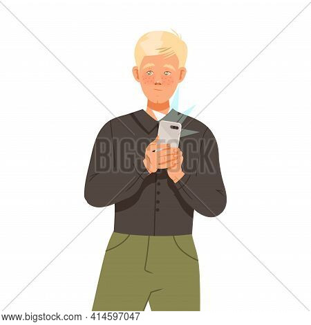 Blond Man With Smartphone Recording Street Protest Against Human Rights Violation On Video Vector Il