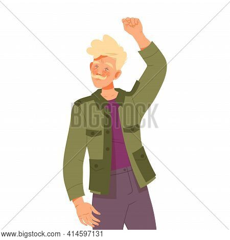Moustached Man Raising His Hand Up Supporting Street Protest Against Human Rights Violation Vector I