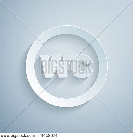 Paper Cut Toilet Icon Isolated On Grey Background. Wc Sign. Washroom. Paper Art Style. Vector