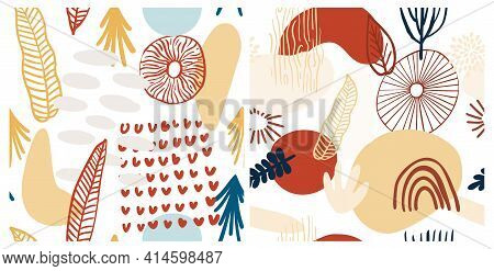 Eye Abstract Pattern Collection, Contemporary Geometric Shapes. Vector Greek Seamless Pattern With L