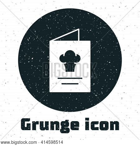 Grunge Cookbook Icon Isolated On White Background. Cooking Book Icon. Recipe Book. Fork And Knife Ic