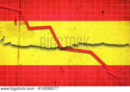Fall Of The Spain Economy. Recession Graph With A Red Arrow On The Spain Flag. Economic Decline. Dec
