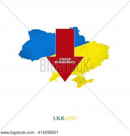 Crash Economics Ukraine. Red Down Arrow On The Map Of Ukraine. Economic Decline. Downward Trends In