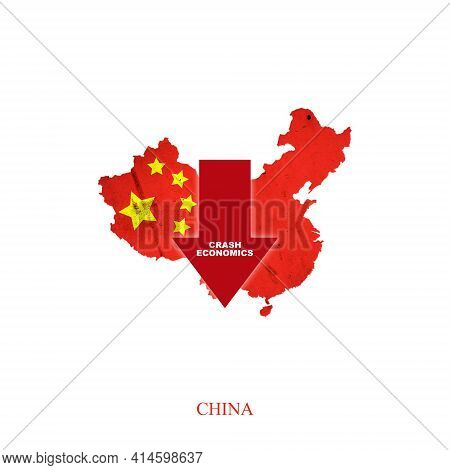 Crash Economics, China. Red Down Arrow On The Map Of China. Economic Decline. Downward Trends In The