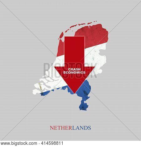 Crash Economics, Netherlands. Red Down Arrow On The Map Of Netherlands. Economic Decline. Downward T