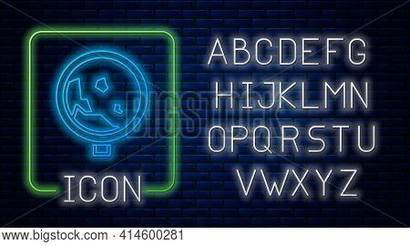 Glowing Neon Road Sign Warning Avalanche Rockfall Landslides Icon Isolated On Brick Wall Background.