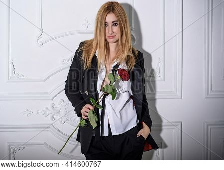 Stylish Modern Young Plus Size Woman In Unisex Suit, Fashion Details, American Beauty