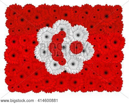 Tunisian Flag Made Of Gerbera Flowers, Isolated On White