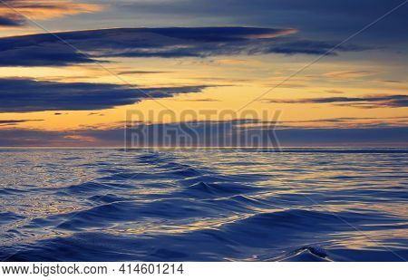 Atlantic Ocean sunset landscape near Husavik, Iceland