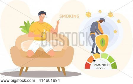 Immunity Level Decreases Due To Smoking Guy With Cigarette Relaxing At Home. Tobacco Dependence