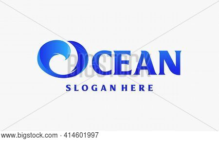 Ocean Typography Logo Template, Abstract Design Of Ocean Logo With Waves