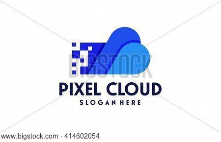 Modern Pixel Cloud Logo Designs Concept Vector, Cloud Tech Logo Template, Technology Logo Symbol Ico