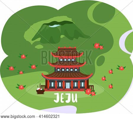 Red Building In Oriental Style Standing On Flowering Slope. Landscape Of Jeju Island In South Korea