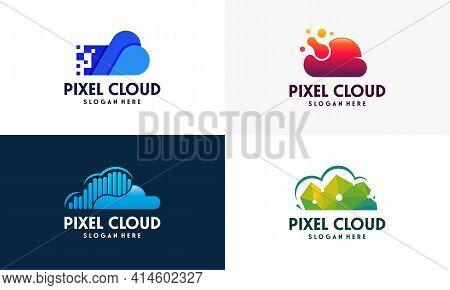 Set Of Modern Pixel Cloud Logo Designs Concept Vector, Cloud Tech Logo Template, Technology Logo Sym