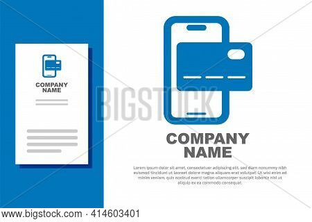 Blue Mobile Banking Icon Isolated On White Background. Transfer Money Through Mobile Banking On The