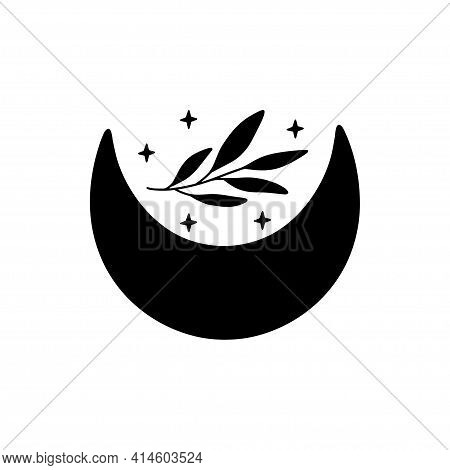 Boho Vector Illustration With Black Crescent Moon And Branch. Contemporary Art. Celestial T Shirt Pr