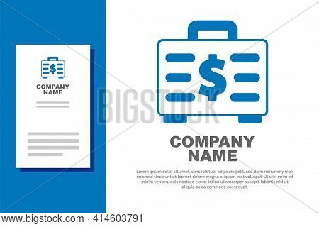 Blue Briefcase And Money Icon Isolated On White Background. Business Case Sign. Business Portfolio.