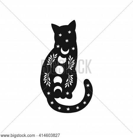 Mystical Moon Cat. Black Celestial Animal Vector Illustration. Esoteric Concept With Moon Phases, Br