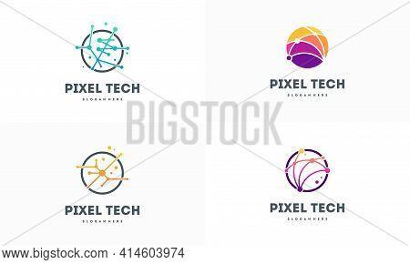 Set Of Pixel Technology Logo Designs Concept Vector, Network Internet Logo Symbol, Digital Wire Logo