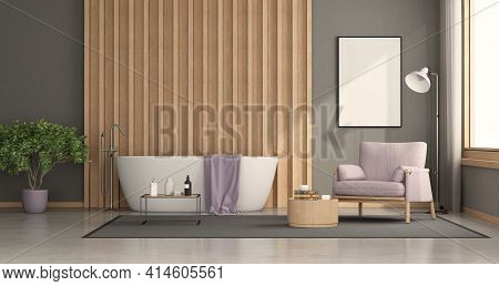 Modern Bathroom With Bathtub With Wooden Panel On Background And Armchair - 3d Rendering