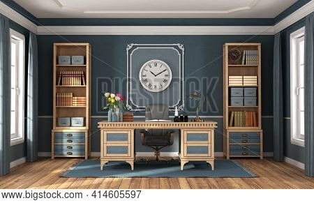 Classic Style Home Office With Blue Walls, Wooden Desk And Bookcases - 3d Rendering