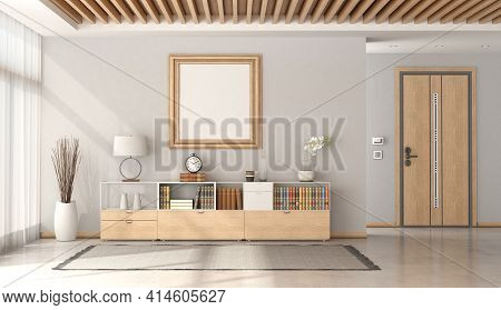 Minimalist Home Entrance With Front Door And Sideboard With Decor Objects And Wooden Ceiling - 3d Re