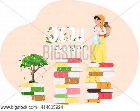 Woman In National Costume Of Jeju With Can Of Traditional Drink Standing On Stacks Of Books