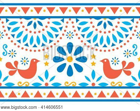Mexican Folk Art Vector Long Seamless Pattern With Birds And Flowers, Textile Or Greeting Card Desig